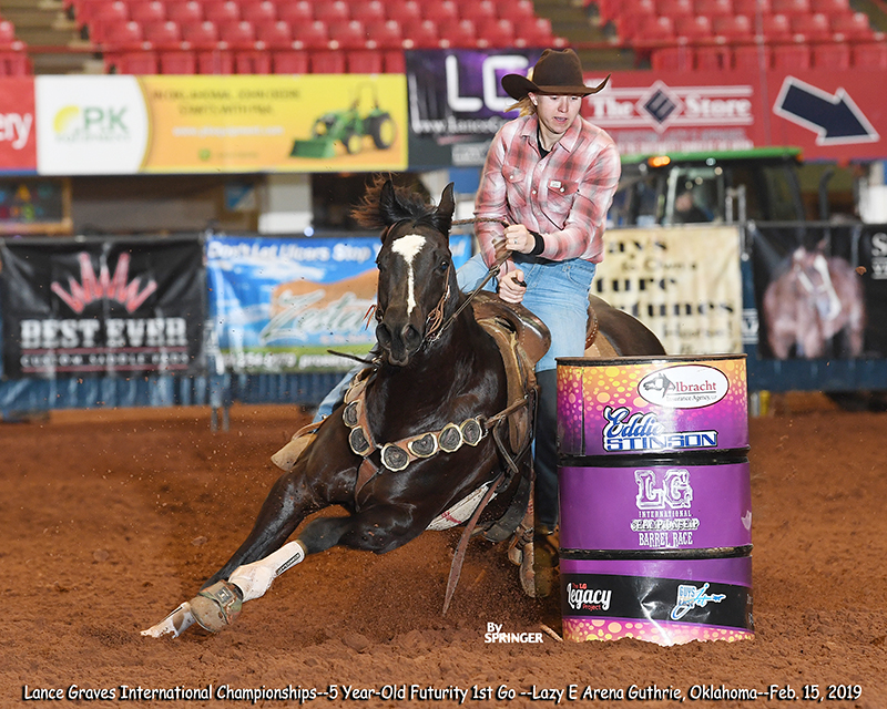 Slick N Black Placing 7th in the 1st Go of the Lance Graves Futurity. Another RC Back In Black winner!
