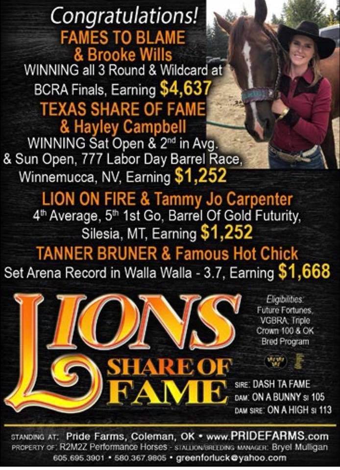 Congratulations Lion Cub Owners: Fames To Blame & Brooke Wills, Texas Share of Fame and Hayley Campbell, Lion On Fire and Tammy Carpenter