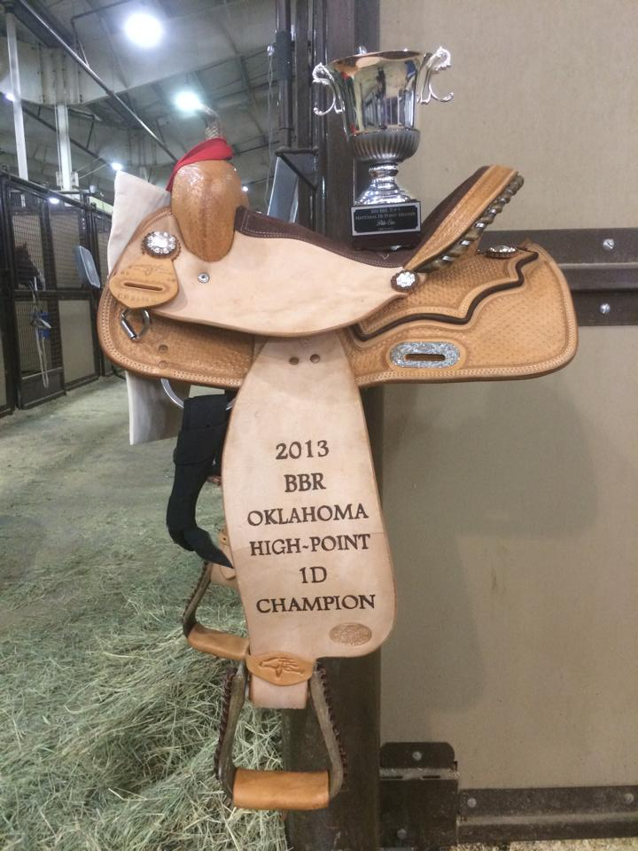 My trophy saddle! I was the highest 1D BBR point earner in the Oklahoma region. And I was the 4th highest BBR point earner overall for all members!