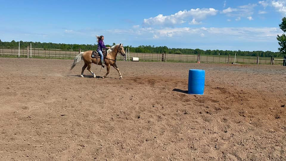 Hailey trotting and loping Hero through barrels