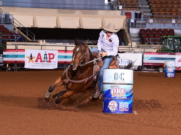 Double Down Stinson, owned by Tracy Peacock Henderson and Jody, placing 9th in the second go and qualifying back to the finals in the OKC Futurity!