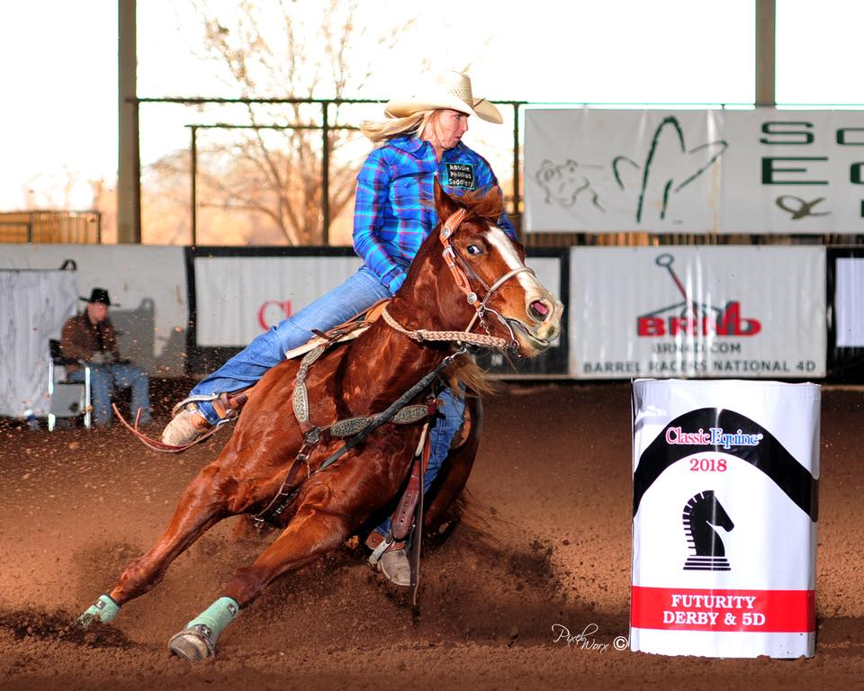 PC Judge Cashnlace, own daughter of Judge Cash, ran for the first time in the Classic Equine Futurity.  This filly ended up placing 24th over all running a 17.8 for both of her times.  Ridden by Hilary Van Gerpen