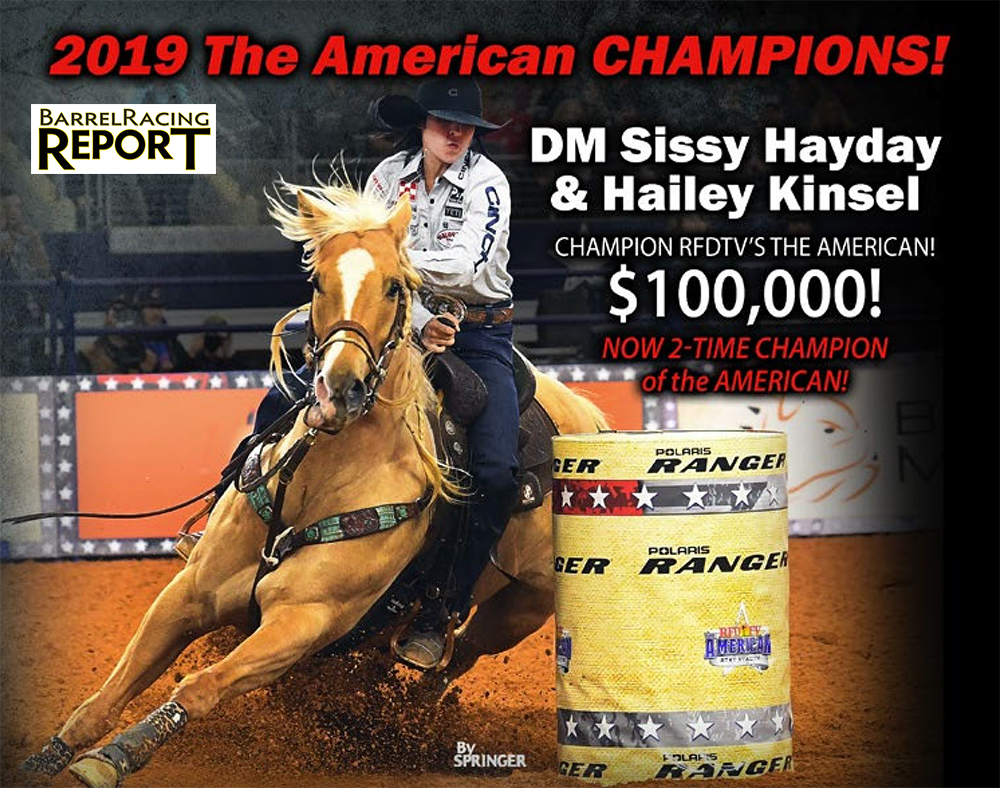 "Weekly VIP Spotlight and Barrel Racing Report Hailey Kinsel and her incredible mare DM Sissy Hayday (""Sister"") have made three appearances at AT&T Stadium for RFD-Tv's The American. They've never left without a check."