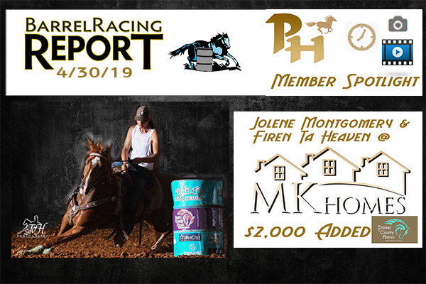 BBR World Finals, Montgomery and Firen Ta Heaven Triumphant at the MK Homes Barrel Race and more.  4/30/19 Barrel Racing Report