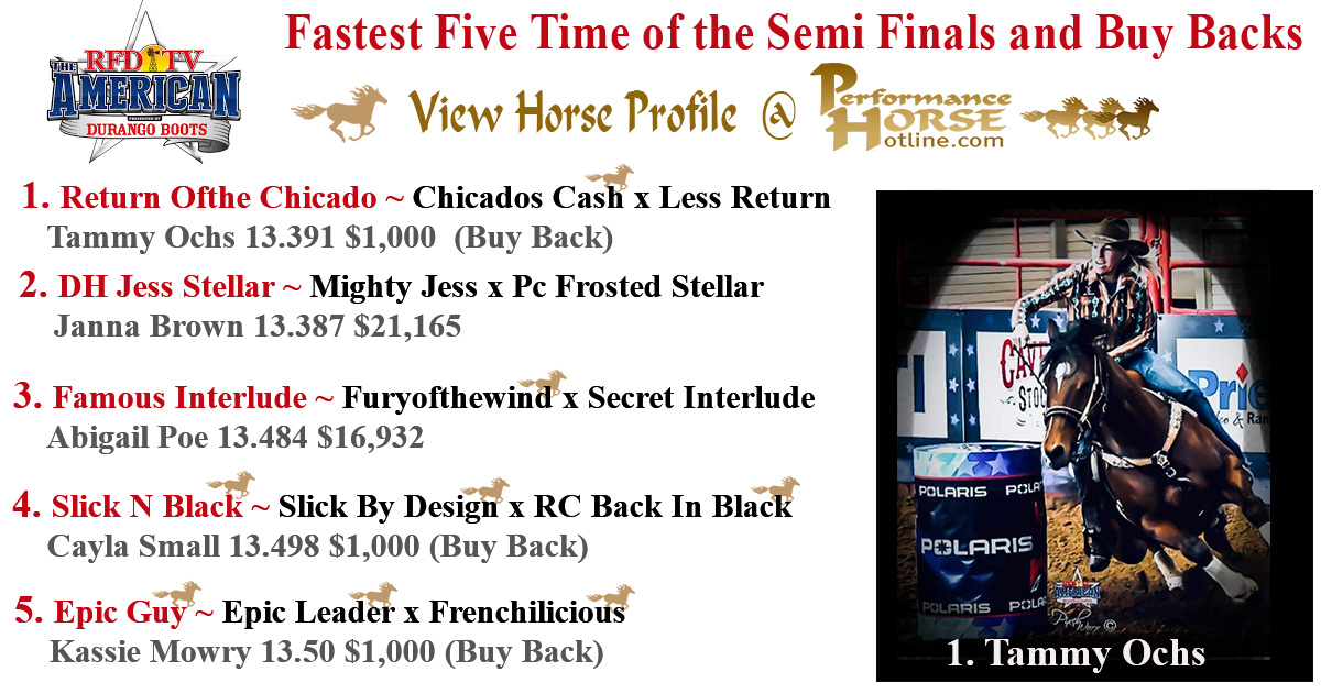 The American Semi Finals top 5 fastest times including horses, sire and dams.  Video is our hotPage Website Client Cayla Melby on Slick N Black who was 2nd in the buy backs with a 13.458.