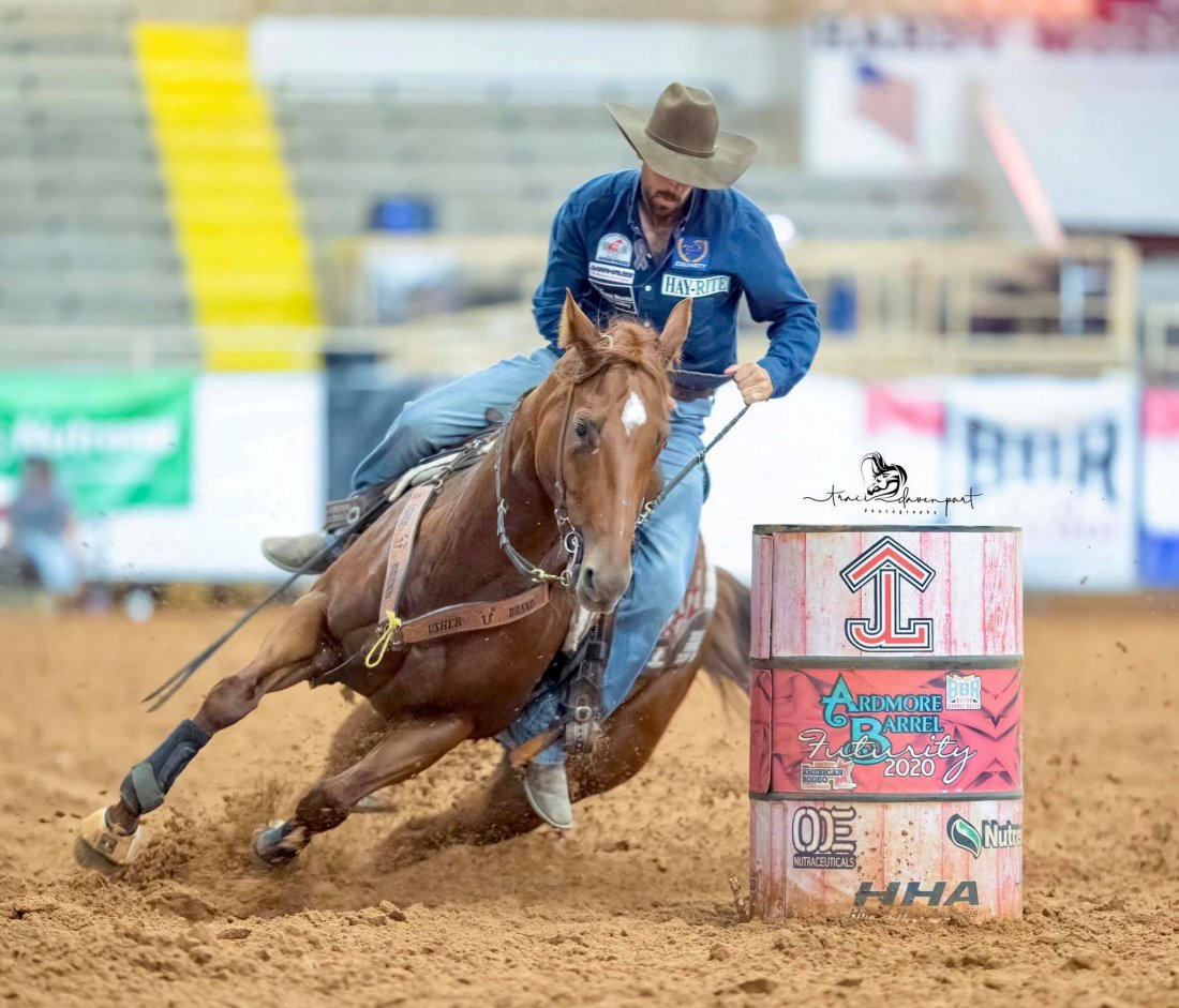 Trump This Jet 🚀 by Blazin Jetolena and Brandon Cullins placing in the open and BCB sidepot at the 2020 Ardmore Barrel Futurity.