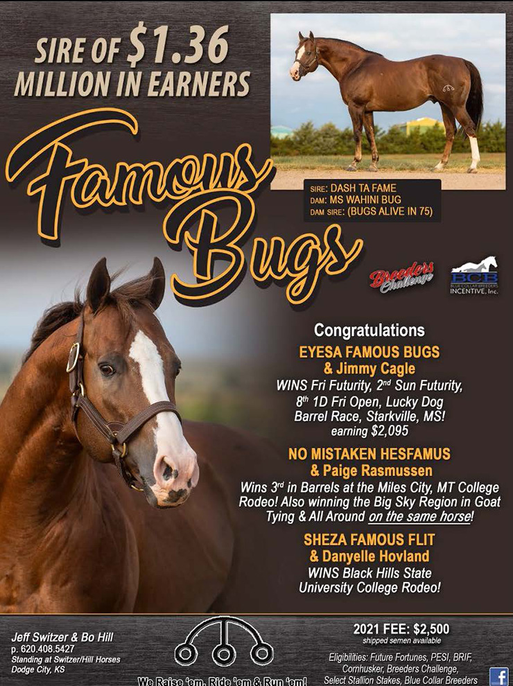 BCB Stallion Famous Bugs Offspring earnings of over 1.36 Million as of April 2021, Congratulations Jimmy Cagle, Paige Rasmussen and Danyelle Hovland on your recent wins!