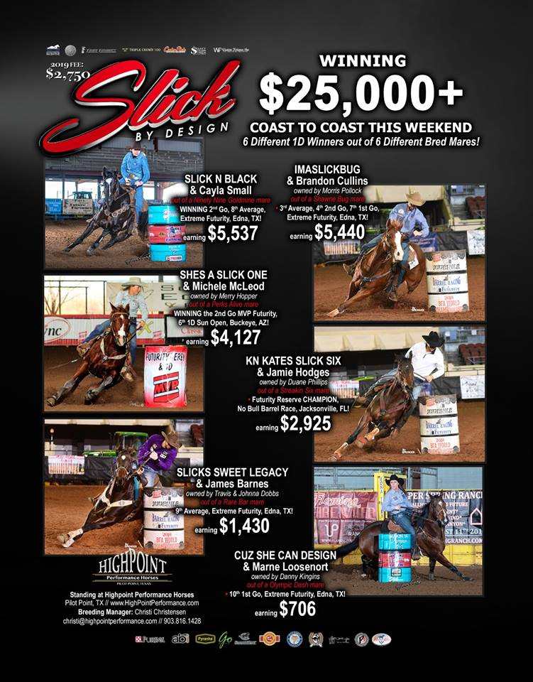 Slick By Design Offspring Winning over $25,000 the first week in January!  6 Different 1D Winners out of 6 different bred mares!  Video is Cayla Small and Slick N Black