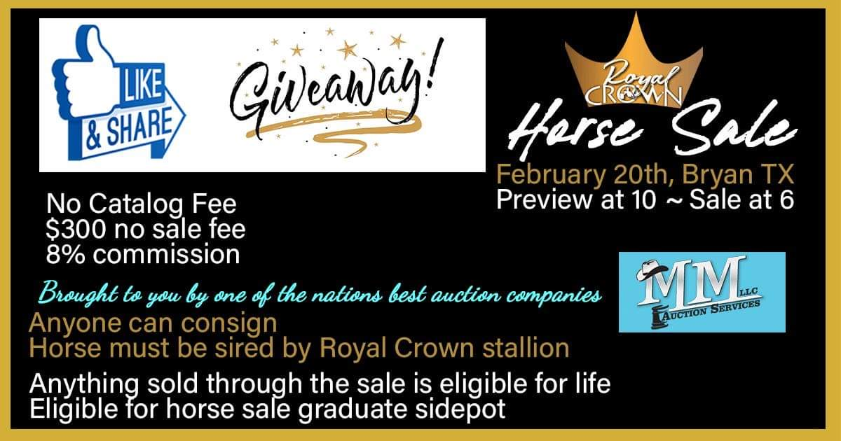 Royal Crown Horse Sale- Get Your Consignments in.