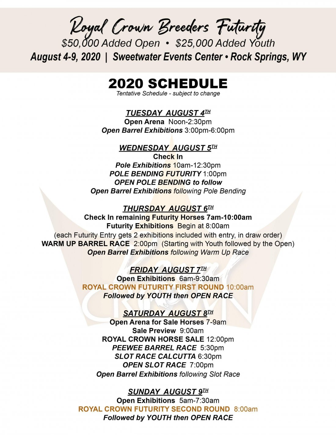 Royal Crown Race Schedule Update!  Earlier start time on Sunday!
