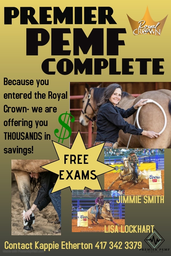 Premier PEMF Complete is offering FREE EXAMS at the Royal Crown Race in Bryan.  Contact Kappie Etherton for treatment and/or exam. 411-342-3379