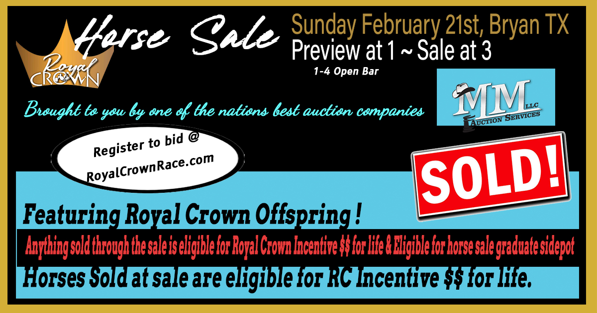 Royal Crown Sale is now Sunday Feb 21, Preview at 1, Sale at 3