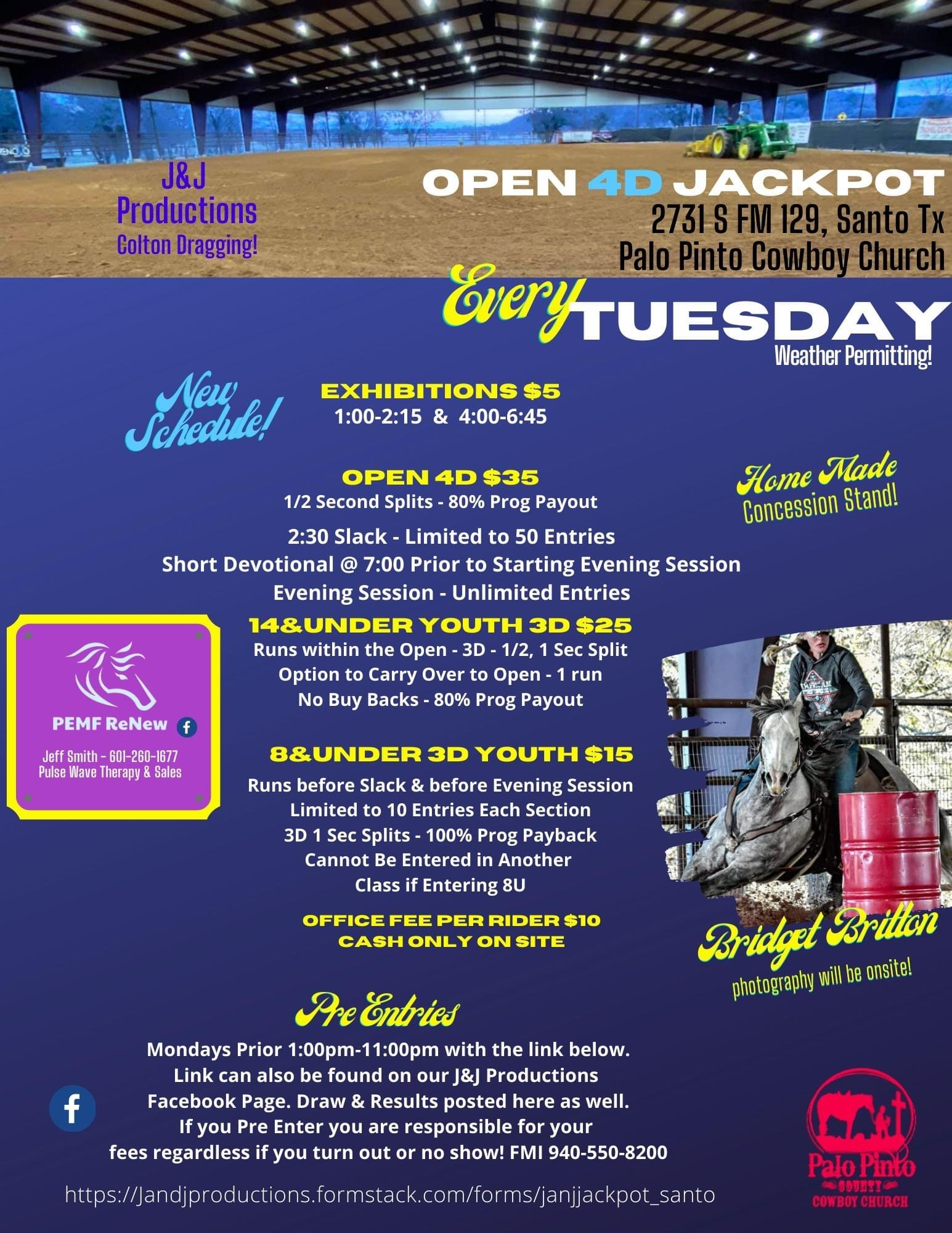 J & J Productions updated the times for the Tuesday night barrel races due to the shadows in the arena,  Our events calendar is updated with this new flyer.